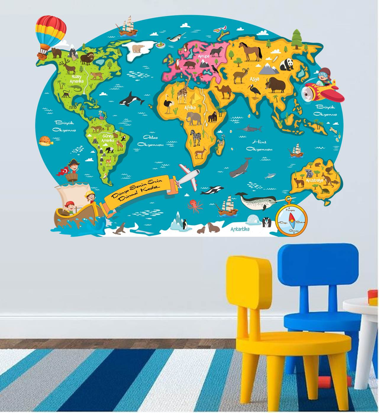 Kids World Map Sticker S1